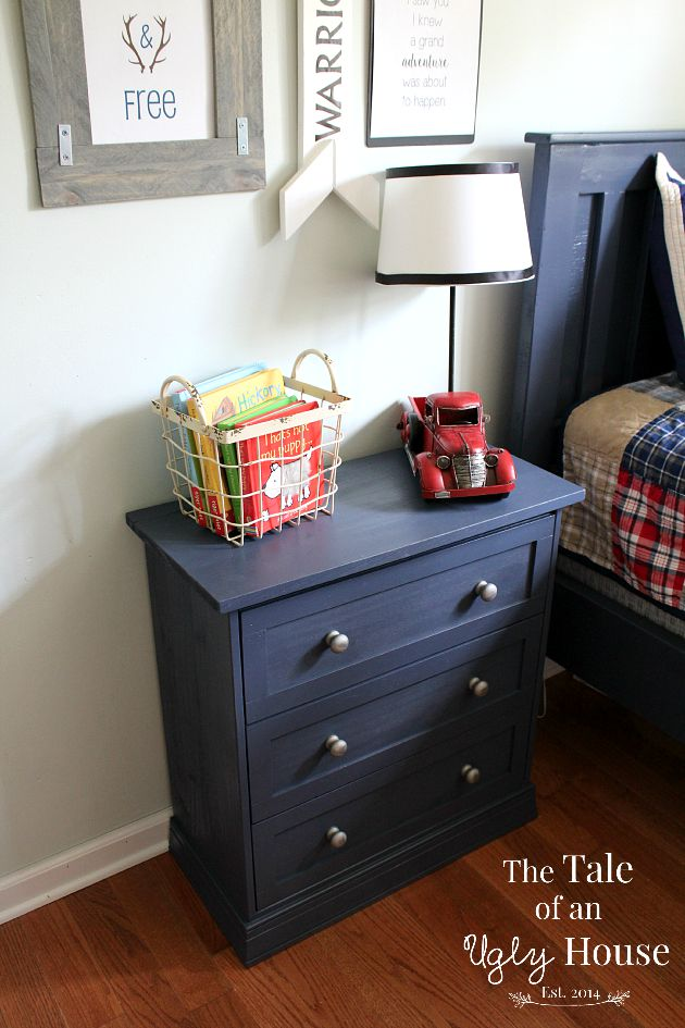 Navy IKEA hack nightstand from The Tale Of An Ugly House
