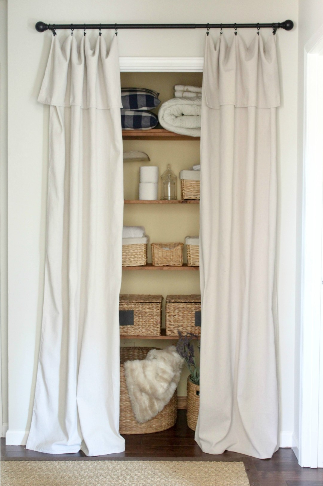 Closet door alternative easy drop cloth curtains for Alternative bathroom door ideas