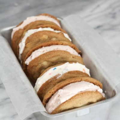 White Chocolate – Butterscotch & Strawberry Ice Cream Sandwiches