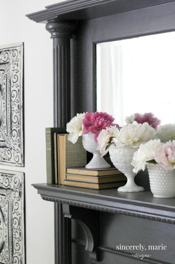 Summer Mantel with Fresh Cut Peonies