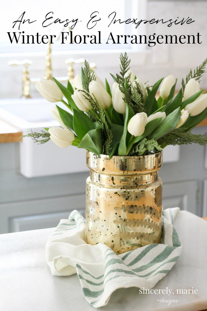 simple winter floral arrangement
