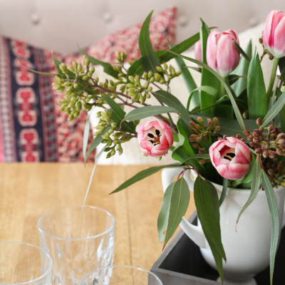 A Simple Spring Vignette with Tulips