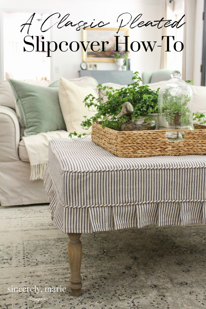 Pleated ottoman slipcover
