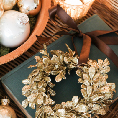 DIY Mini Gold Wreath Ornaments
