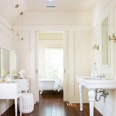 Timeless Master Bathroom Renovation – Bead Board & A Pocket Door