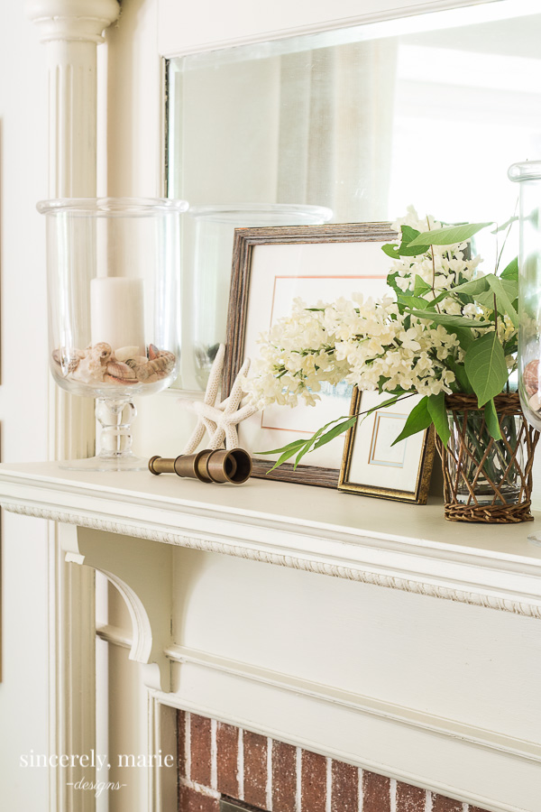 Summer Mantel with Collected Beach Treasures