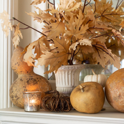 Fall Mantel With Muted Classic Colors
