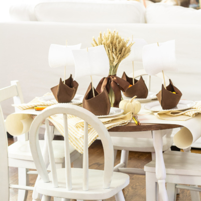 Children's Thanksgiving Tablescape with DIY Mayflowers