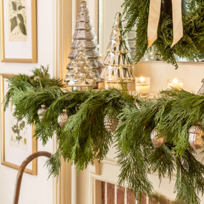 Mercury Glass & Cedar Christmas Mantel