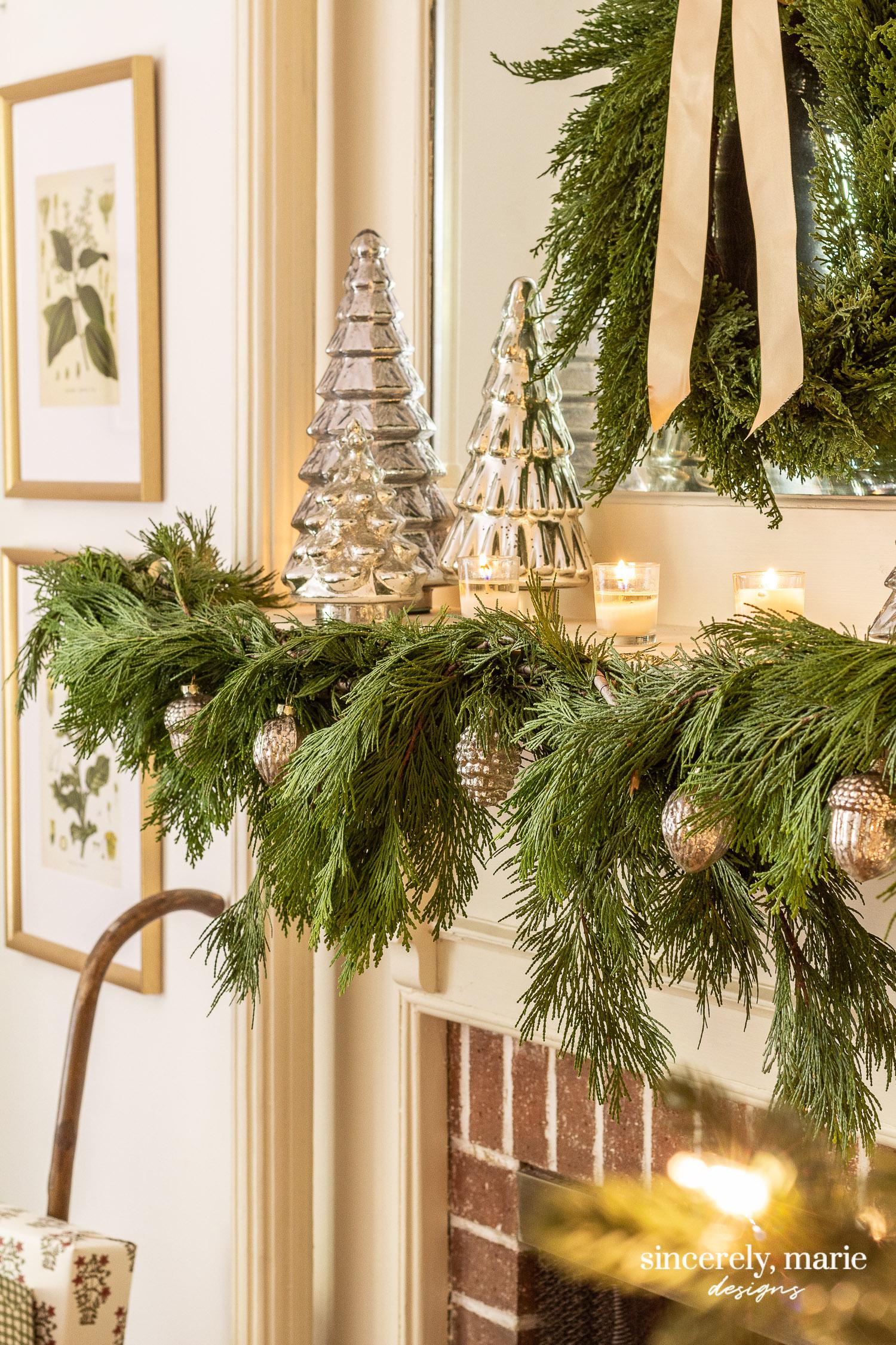 Mercury Glass Cedar Christmas Mantel Sincerely Marie
