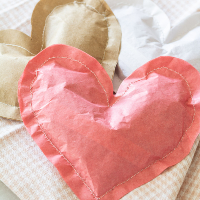 Stitched Paper Heart Treat Bags