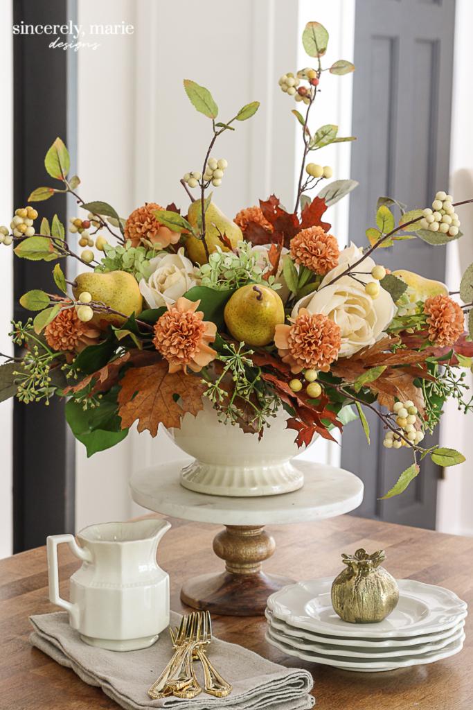 A Faux Autumn Floral Arrangement With Pears Sincerely Marie Designs