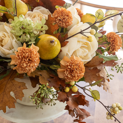 A Faux Autumn Floral Arrangement with Pears