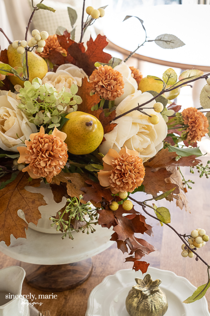 A Faux Autumn Floral Arrangement With Pears Sincerely Marie Designs